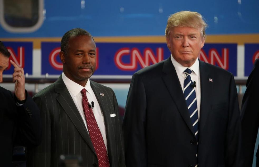 SIMI VALLEY, CA - SEPTEMBER 16:  Republican presidential candidates Ben Carson and Donald Trump take part in the presidential debates at the Reagan Library on September 16, 2015 in Simi Valley, California.  Fifteen Republican presidential candidates are participating in the second set of Republican presidential debates.  (Photo by Justin Sullivan/Getty Images)