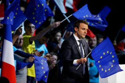 Emmanuel Macron, head of the political movement En Marche!, or Onwards!, and candidate for the 2017 presidential election attends a campaign political rally in Saint-Herblain near Nantes
